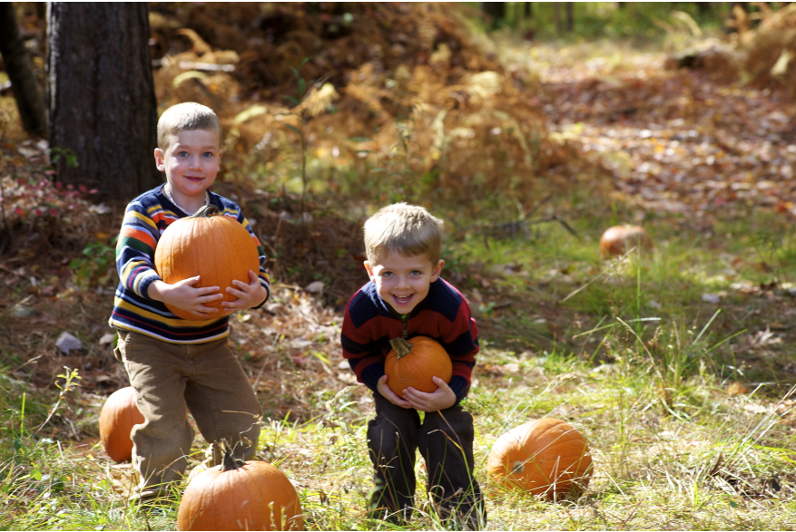 Kids enjoying the fall season