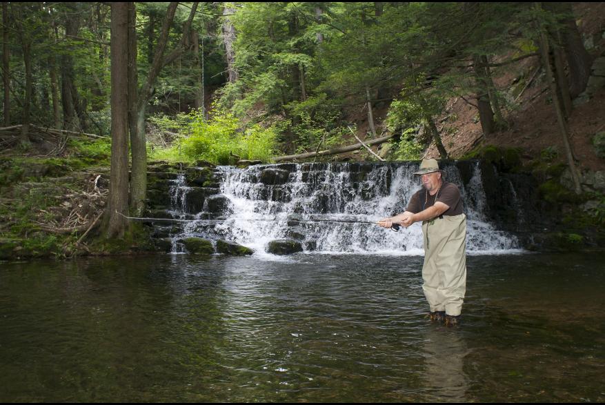 Man Fishing at Pocono Mountains Lake