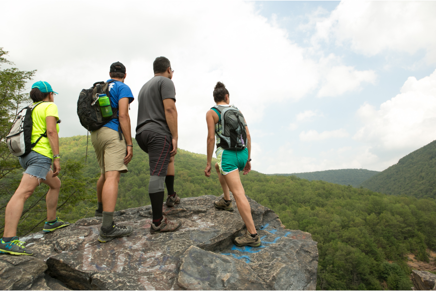 Hiking to the top for a Pocono Mountains scenic view