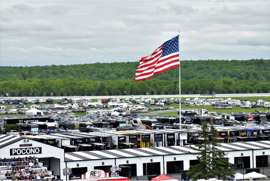 Attend at race at Pocono Raceway