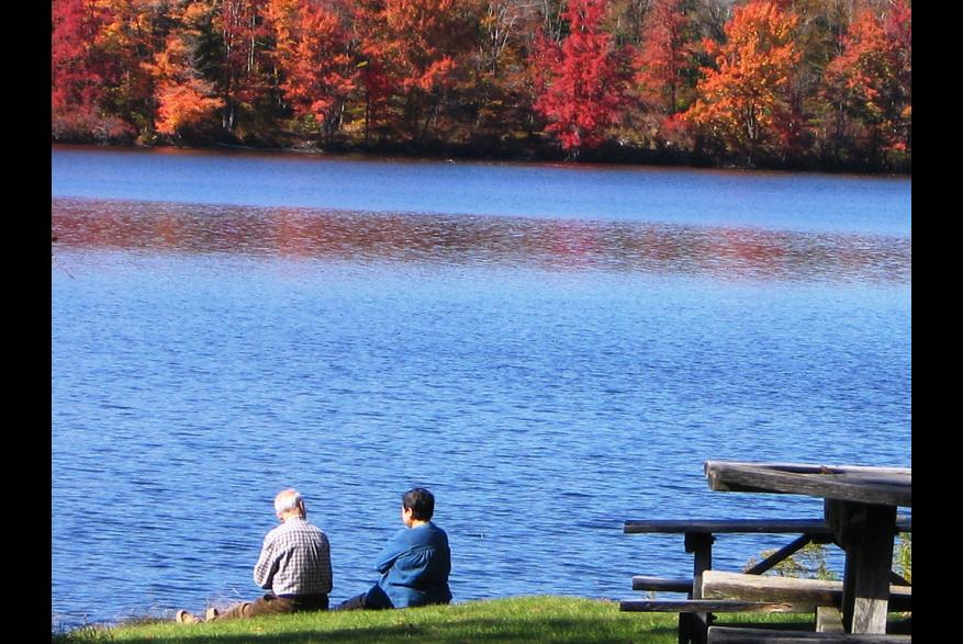 Romantic Fall Couple Lake Tobyhanna State Park Low Res PoconoMtns