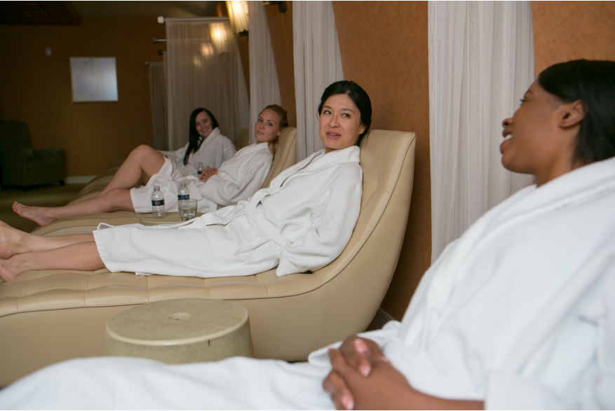 oFriends chat during a relaxing day at a local Pocono Mountains resort spa