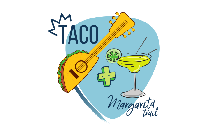 """A light blue guitar pick shape, on top of which is text that reads """"Taco + Margarita Trail."""" There is a guitar whose base is a taco and a margarita that has drumsticks on top."""