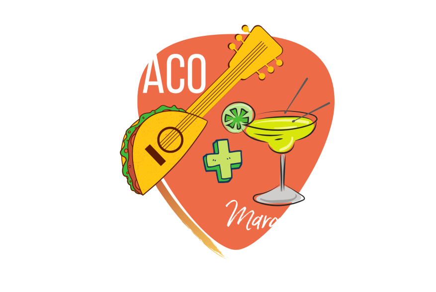 """Orange guitar pick shape with words """"Taco + Margarita Trail"""" in white. On top is a guitar with a base of a taco and a margarita with drum sticks."""