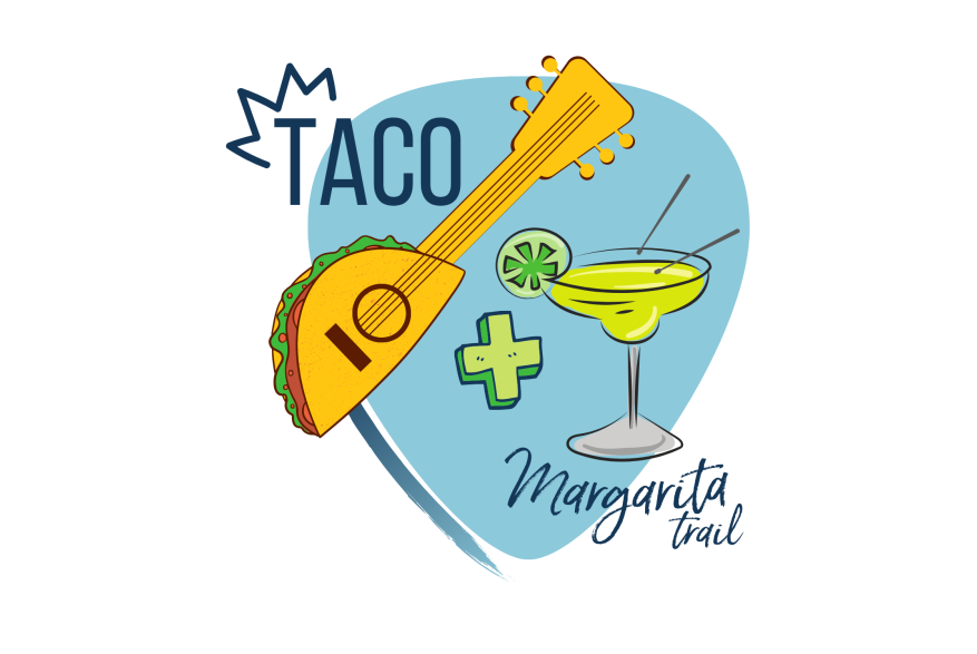 """A light blue guitar shape is the base of the logo. On top is text that says """"Taco + Margarita Trail"""" with a guitar that is half taco and a margarita with drum sticks."""