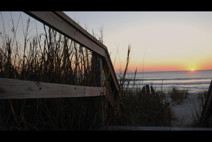 Beach access at sunrise