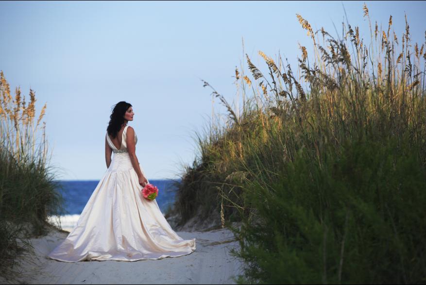 Bride on Beach Path