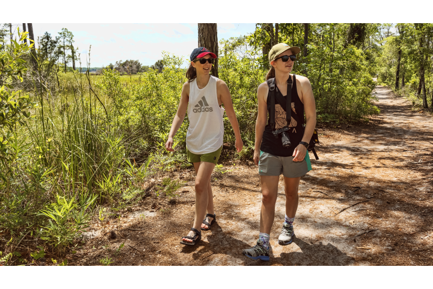 Two women hiking in Carolina Beach State Park