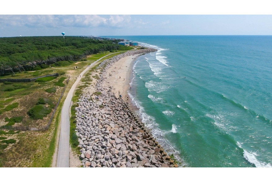Aerial View of Fort Fisher along the ocean