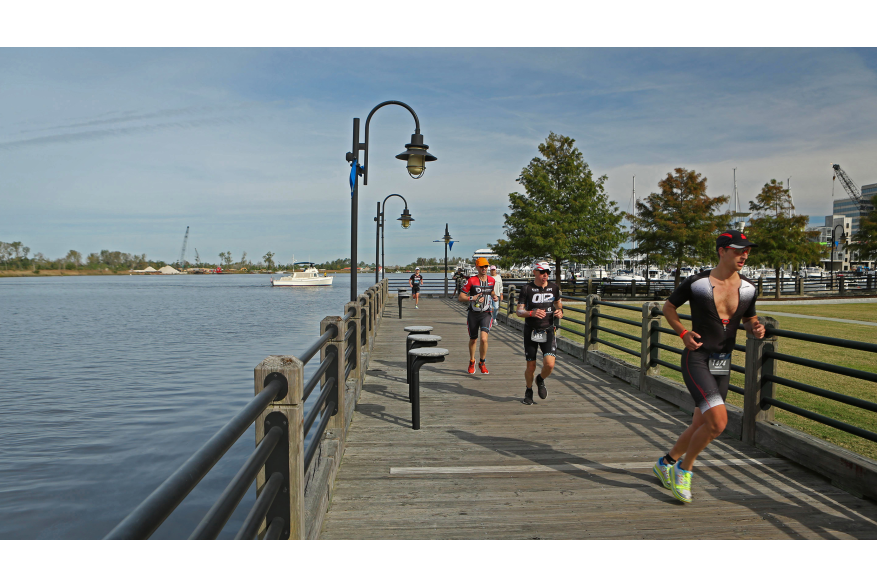 Ironman 70.3 running on the Riverwalk