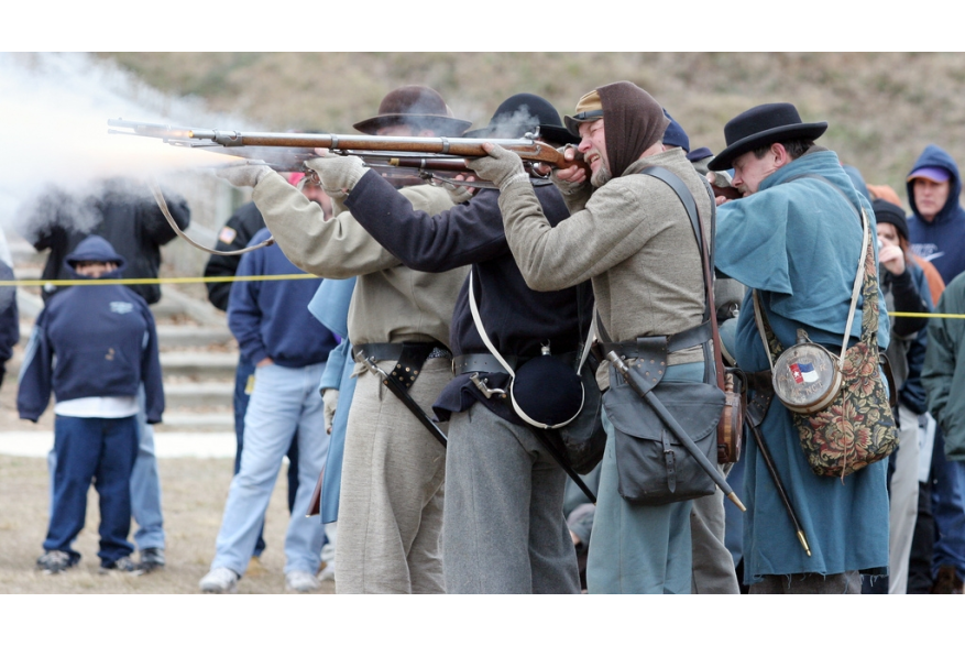 Battle reenactment at the Fort Fisher State Historic Site