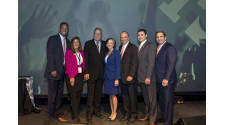 Keynote Speaker Ron Jaworski poses with the Montgomery County Board of Commissioners and members of the Valley Forge Tourism & Convention Board's senior leadership team.