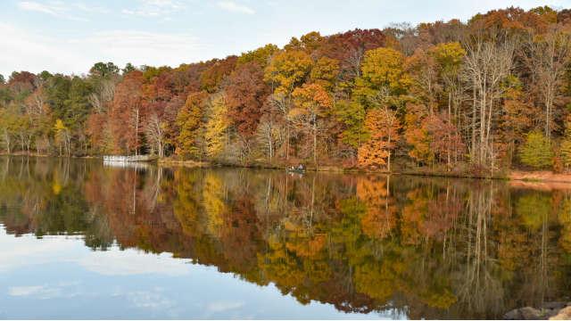 Lake Herrick reflecting the fall colors around it