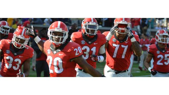 UGA Football players celebrate