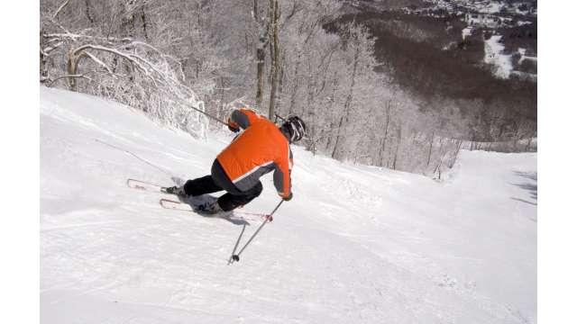 Skiing on Sugar Mountain's Boulder Dash