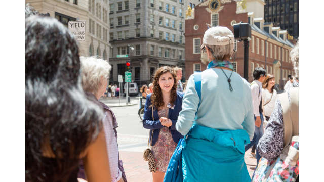 A tourguide with Boston by Foot shares history of the Old State House