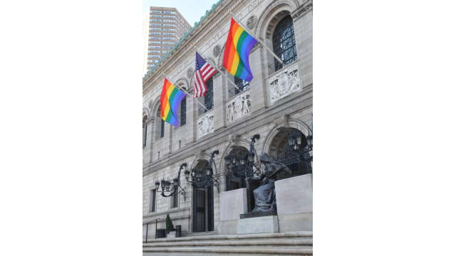 Boston Public Library with rainbow flags closeup