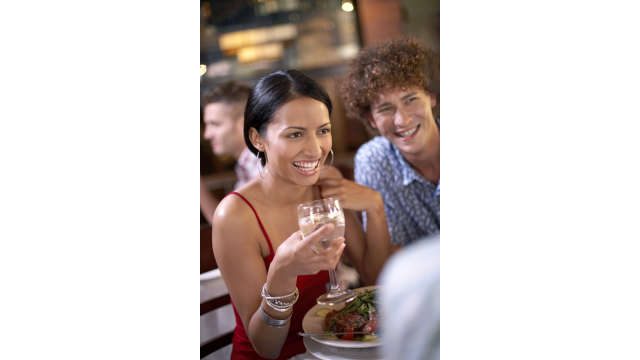 Dining - smiling couple