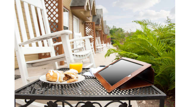 Ipad on Patio Breakfast