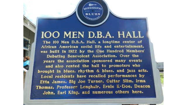 100 Men Hall  - Blues Trail Marker