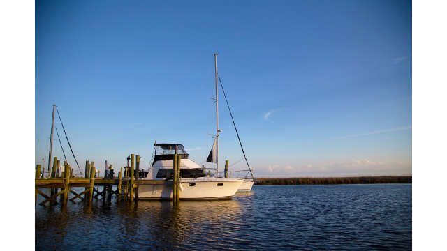 Boat docked in Diamondhead