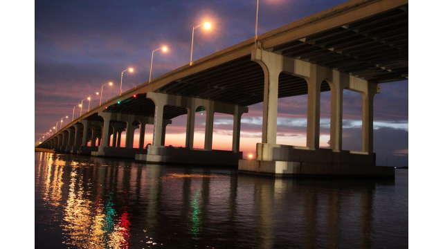 Bridge at night in Pascagoula