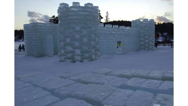 Building Ice Castle for Saranac Lake Winter Carnival 324