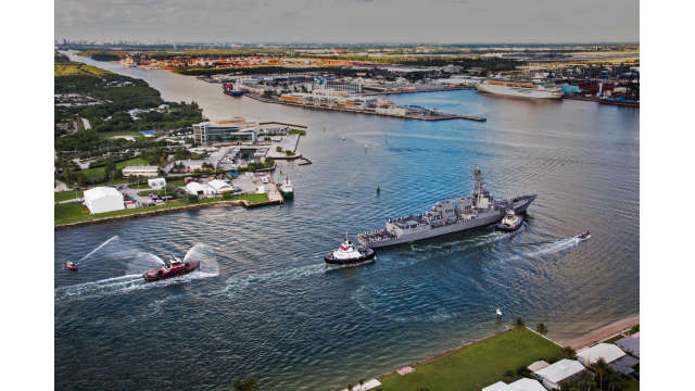 The U.S.S. Paul Ignatius makes her way through the entrance channel at Port Everglades.