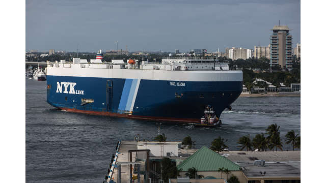 Image of the NYK Rigel Leader entering Port Everglades' main channel.