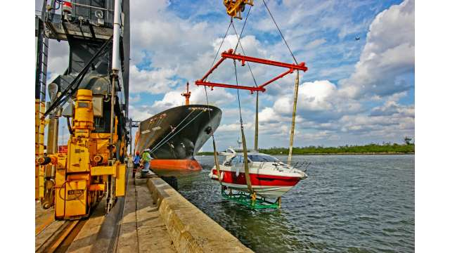Yacht lifted off ship