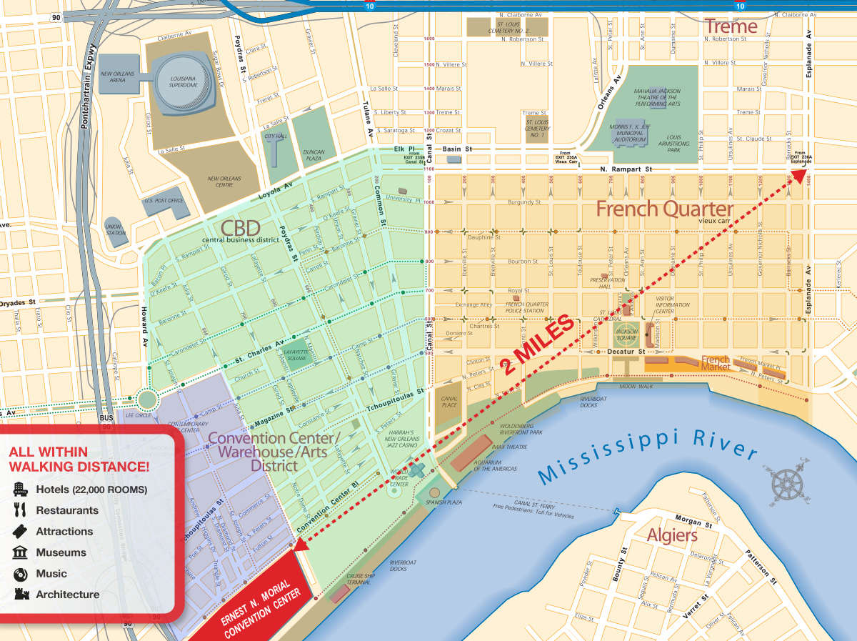 Walkable Downtown New Orleans Map
