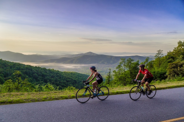 Women Cycling Along the Blue Ridge Parkway
