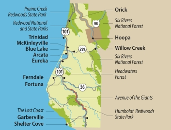 Redwood Forest Map Travel Info for the Redwood Forests of California, Eureka and