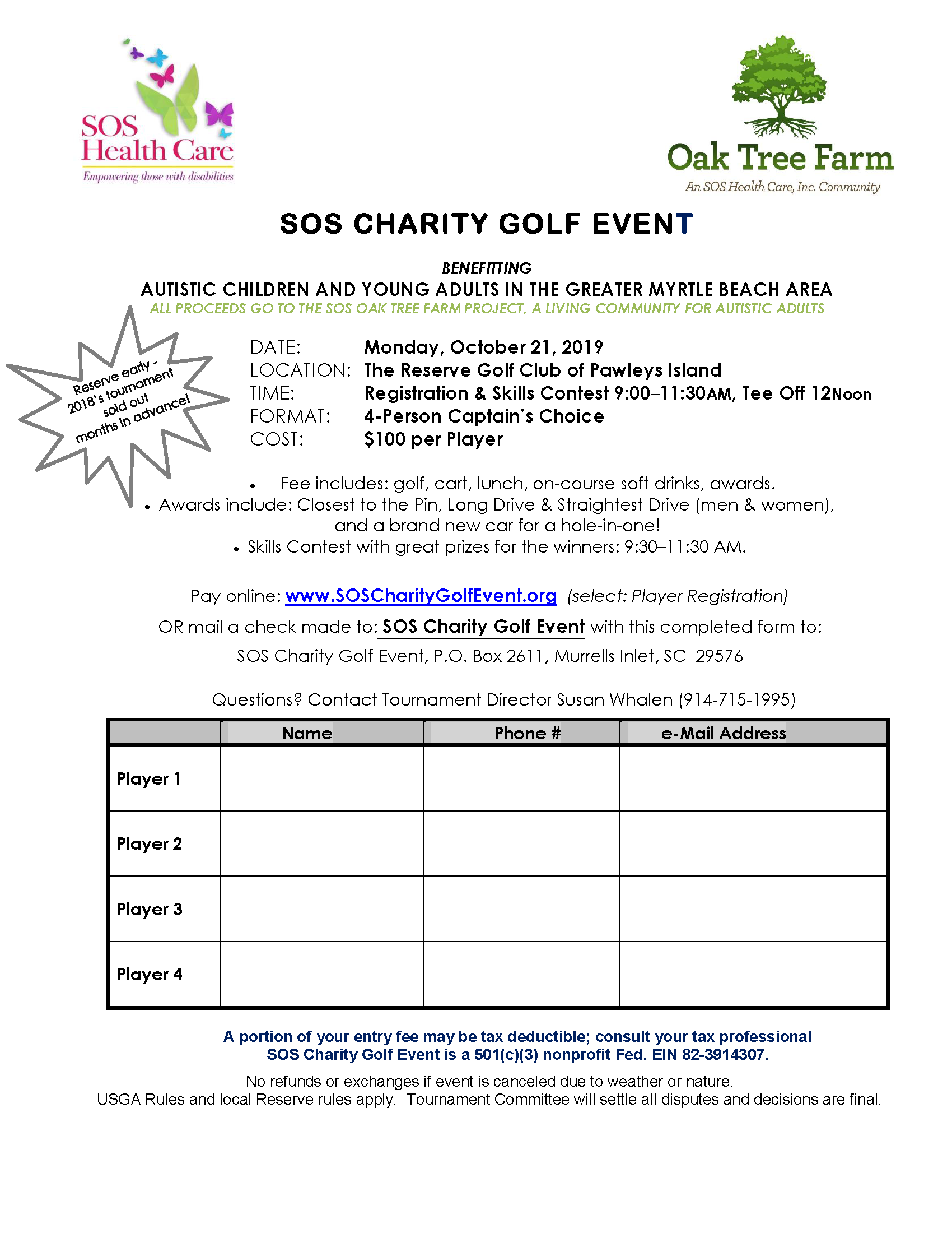SOS Charity Golf Event Benefitting Children and Adults with