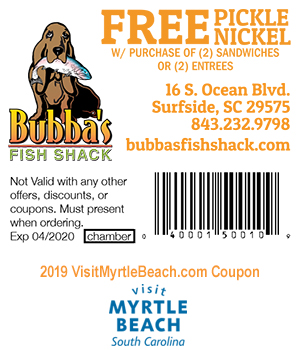 Wing Shack Coupons >> Bubba S Fish Shack Free Pickle Nickle