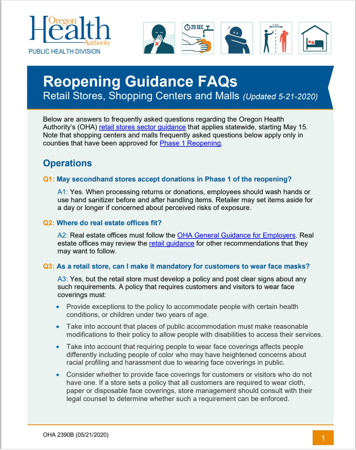 Retail, Shopping Centers Reopening FAQs