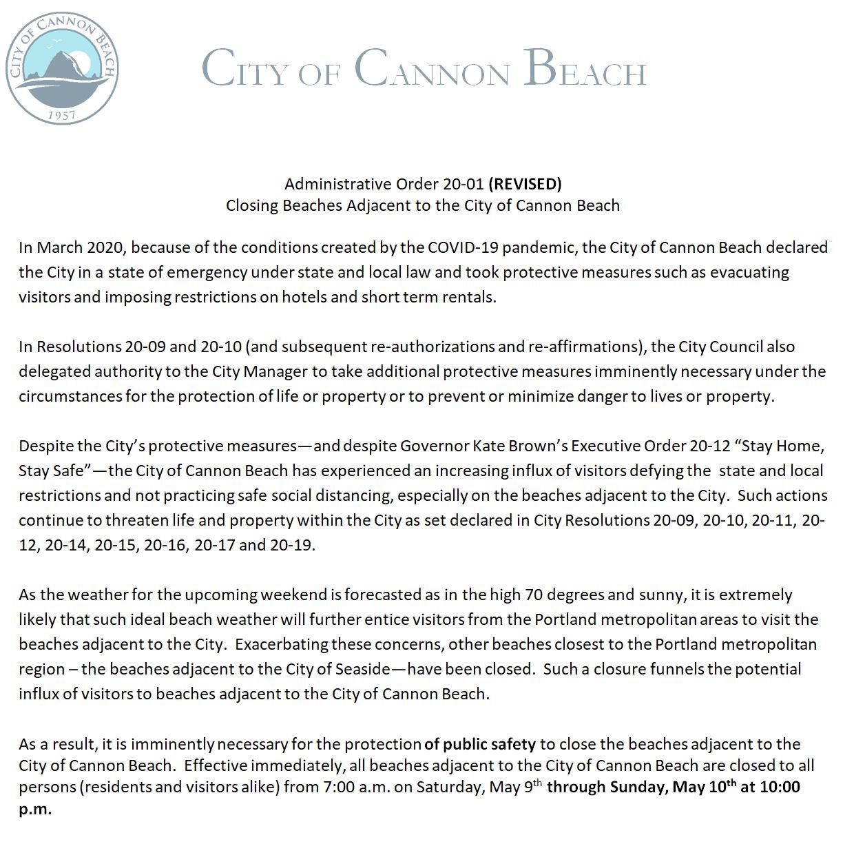 Beach Closure Administrative Order 20-01