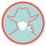 Masks Required Logo - A silhouette of a cowboy wearing a mask