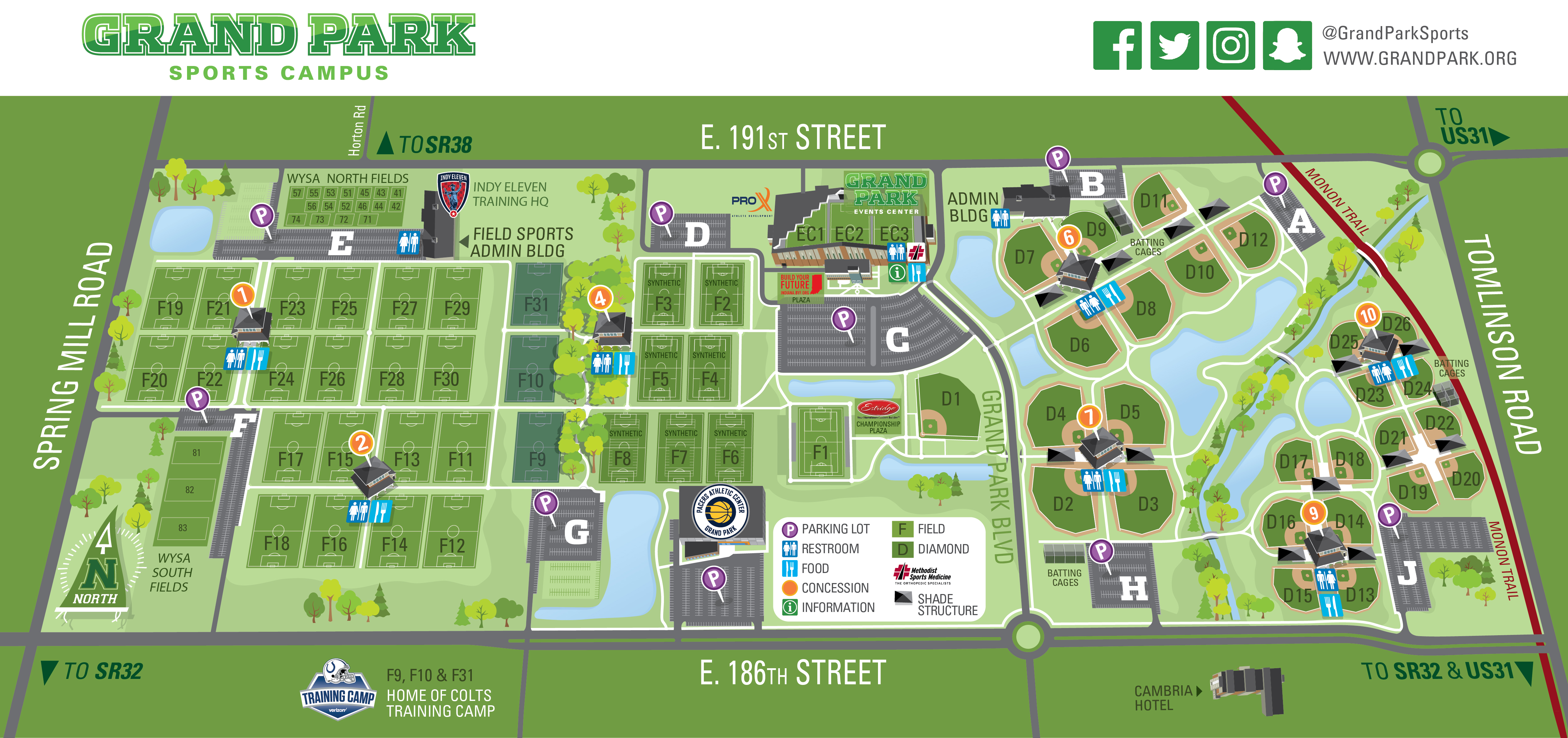 Grand Park Map Grand Park in Westfield, IN | Find Sports Events & Park Info