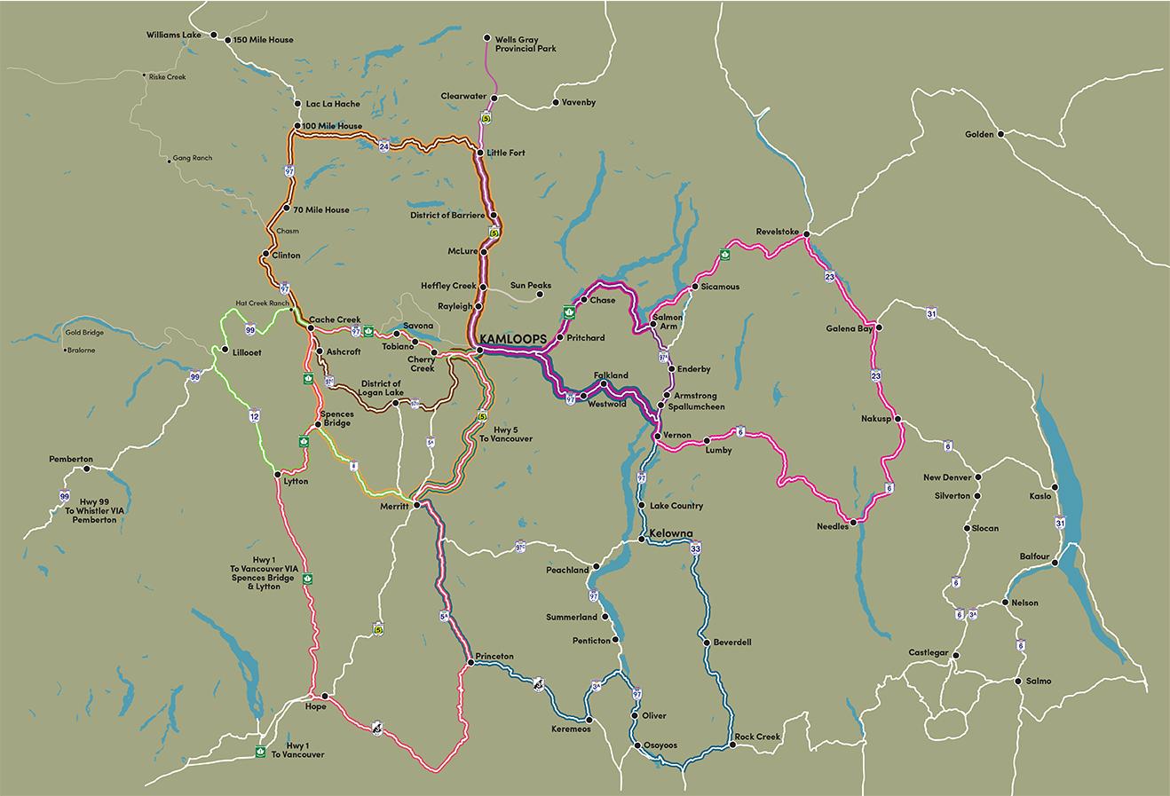 Map Of Canada Showing Kamloops.Road Trips Tourism Kamloops Bc