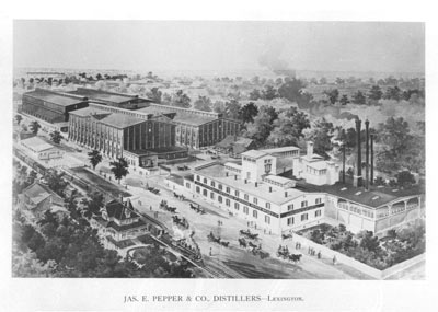 James Pepper distillery historic lithograph.