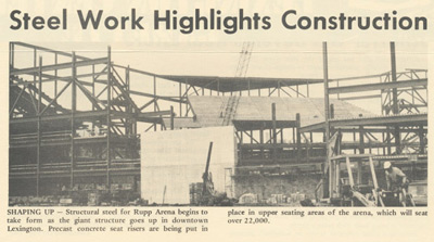 Newspaper clipping of the beginning construction of Rupp arena.