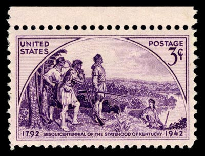 A vintage stamp detailing the statehood of Kentucky.