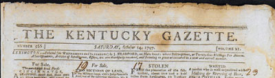 An old Kentucky Gazette clipping with the letter head intact.