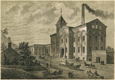 An old lithograph of the original distillery at Buffalo Trace Distillery.
