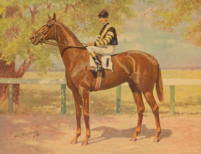 An oil painting of the famous race horse Man o' War