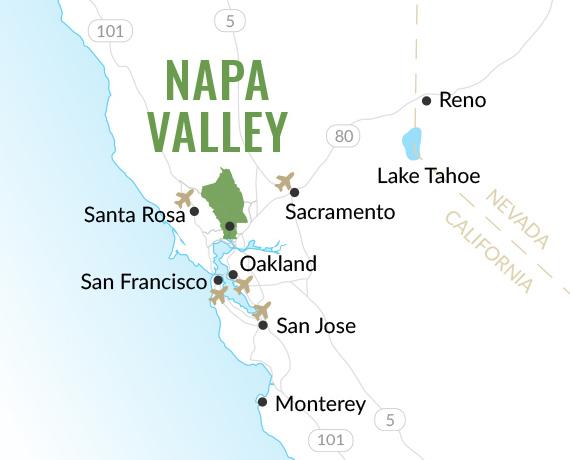 Airports near Napa Valley, California map