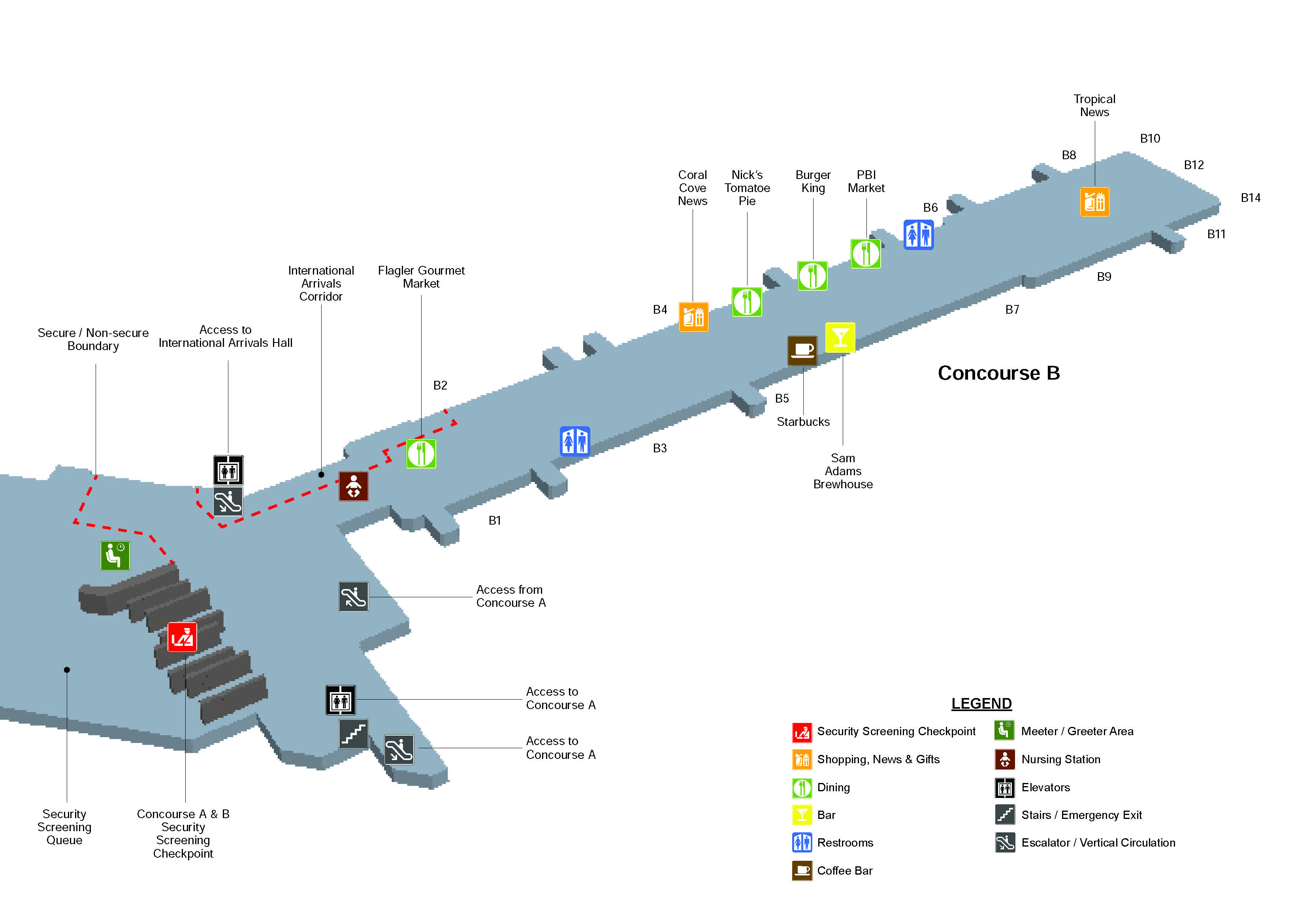 west palm beach airport terminal map Terminal Maps Palm Beach International Airport west palm beach airport terminal map