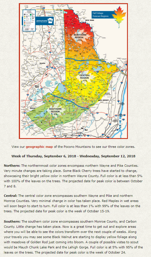 Foliage Map New York 2017.Poconos Fall Foliage Forecast When To See The Autumn Colors