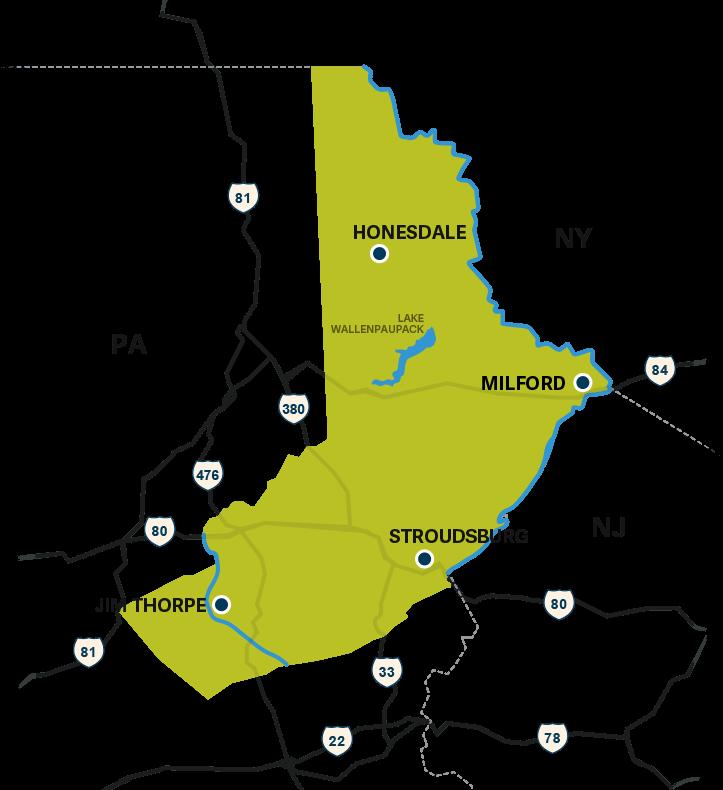 map of the Poconos